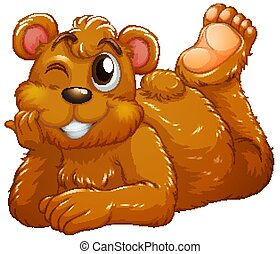 Cute bear on white background