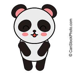 cute bear panda animal tender isolated icon
