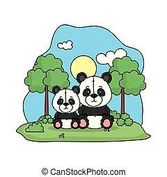 cute bear panda family in the landscape