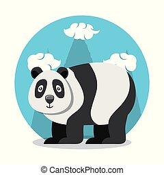 cute bear panda of culture oriental