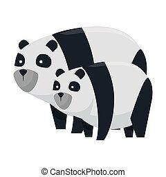 cute bear pandas family characters