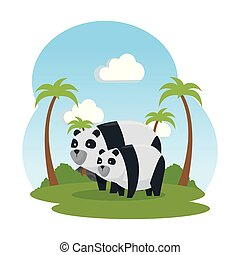 cute bear pandas in the landscape family characters