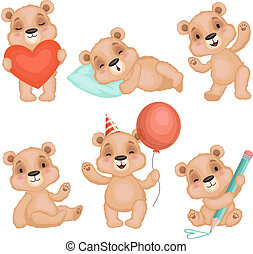 Cute bear pose. Cute animal teddy bear boy toys for kids birthday or valentine gifts vector characters set
