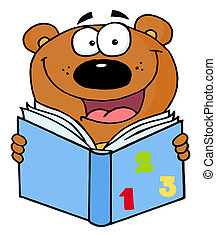 Cute Bear Reading A Book