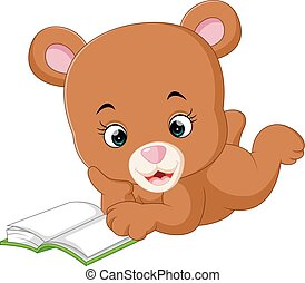 cute bear reading book cartoon