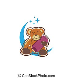 Cute bear sitting on the moon cartoon hand drawn vector illustration. Can be used for t-shirt print, kids wear fashion design, baby shower invitation card.
