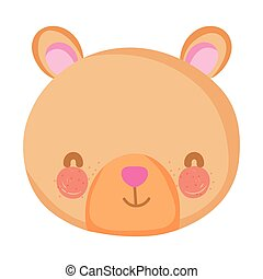 cute bear teddy head character