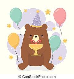 cute bear teddy in birthday party scene