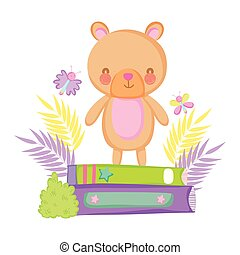 cute bear teddy with books