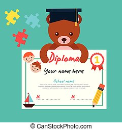cute bear teddy with graduation cap holding diploma