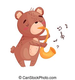 Cute bear with a saxophone. Vector illustration on white background.