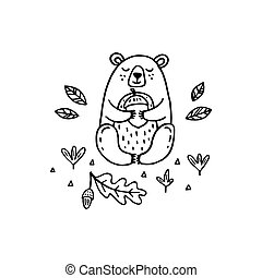 Cute bear with acorn isolated on white background
