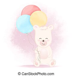 Cute bear with balloon hand drawn cartoon illustration