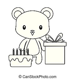 cute bear with cake of birthday and gift box