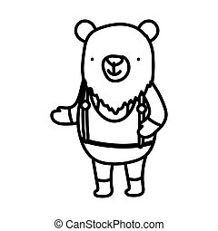 cute bear with clothes cartoon character on white background thick line