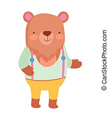 cute bear with clothes cartoon character on white background