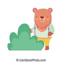 cute bear with clothes foliage cartoon on white background