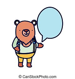 cute bear with clothes speech bubble cartoon on white background