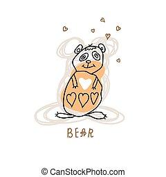 Cute bear with heart. Cartoon sketch animal illustration.