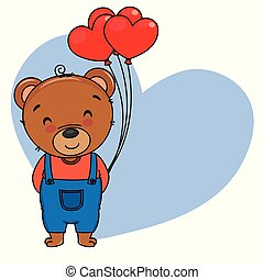 Cute bear with heart-shaped balloons