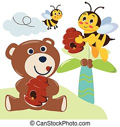 Cute bear with honey. Bear and bees. with cartoon style.
