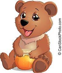 Cute Bear with Honey