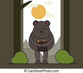 Cute bear with honey in cartoon style. Nature background.