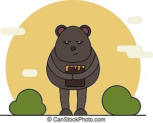 Cute bear with honey in cartoon style.