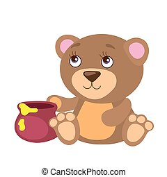 Cute Bear With Honey Pot
