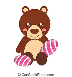 cute bear with sweet candy gums