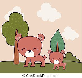 cute bears animals in landscape scene nature