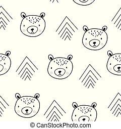 cute, bears., escandinavo, seamless, padrão