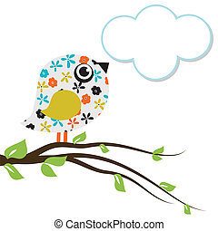 Cute beautiful bird for your design. watercolor