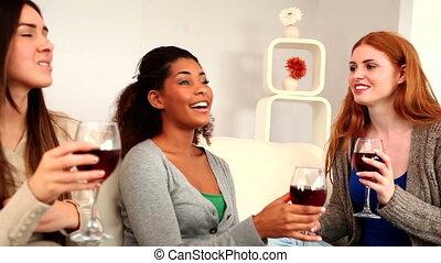 Cute beautiful friends chatting