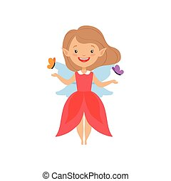 Cute beautiful little winged fairy, lovely girl in red dress vector Illustration on a white background