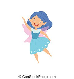 Cute beautiful little winged fairy, lovely girl with hair and dress in blue colors vector Illustration on a white background