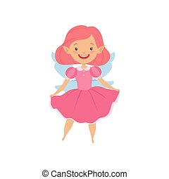 Cute beautiful little winged fairy, lovely girl with hair and dress in pink colors vector Illustration on a white background