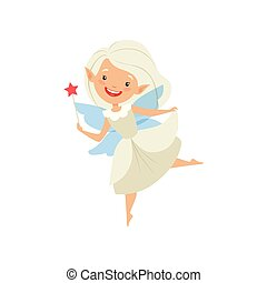 Cute beautiful little winged fairy, lovely girl with hair and dress in white color vector Illustration on a white background
