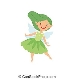 Cute beautiful little winged fairy, lovely girl with long hair and dress in green colors vector Illustration on a white background
