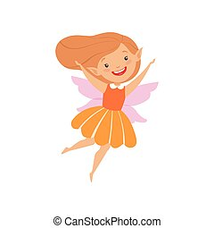 Cute beautiful little winged fairy, lovely happy girl in orange dress vector Illustration on a white background