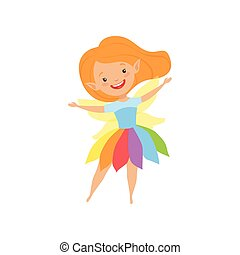 Cute beautiful little winged fairy, lovely redhead girl in rainbow dress vector Illustration on a white background
