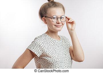 cute beautiful nerd looking at camera