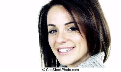 Cute beautiful woman looking camera