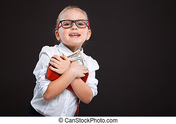 Cute beauty young girl in white shirt and black trousers hold red purse