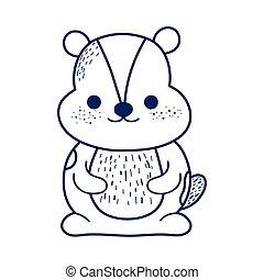 cute beaver animal cartoon isolated icon design line style