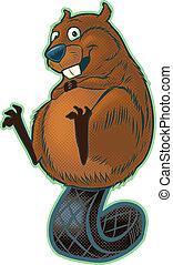 Cute Beaver Balancing on tail - A cute, happy cartoon beaver...