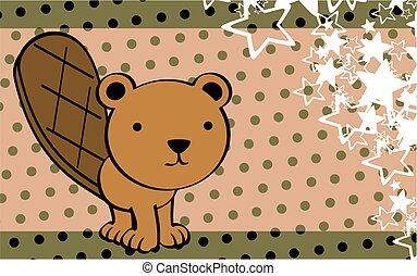 cute beaver cartoon background