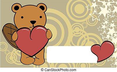 cute beaver cartoon valentine