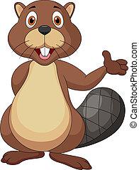 Vector illustration of cute beaver cartoon waving hand