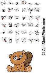 cute beaver expressions cartoon set
